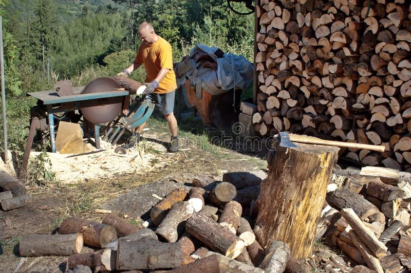 Young man cutting firewood, preparing for winter