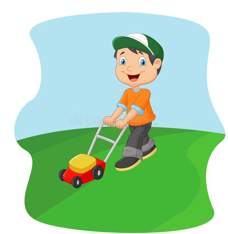 Young man cutting grass with a push lawn mower vector illustration