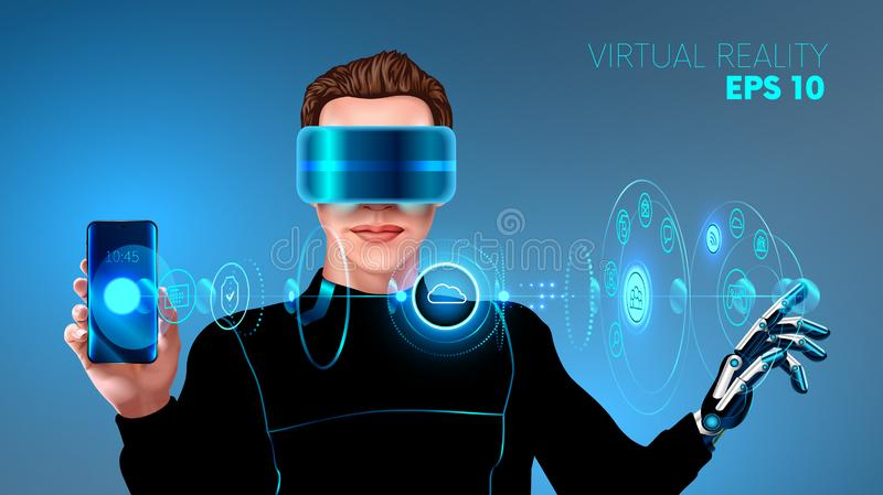 Virtual reality headset. virtual holographic interface. royalty free illustration