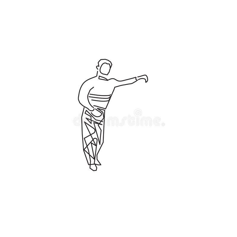 Young man dancing rumba, merengue or latin music vector illustration