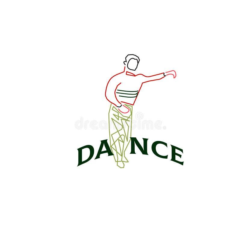 Young man dancing rumba, merengue or latin music. Vector vector illustration