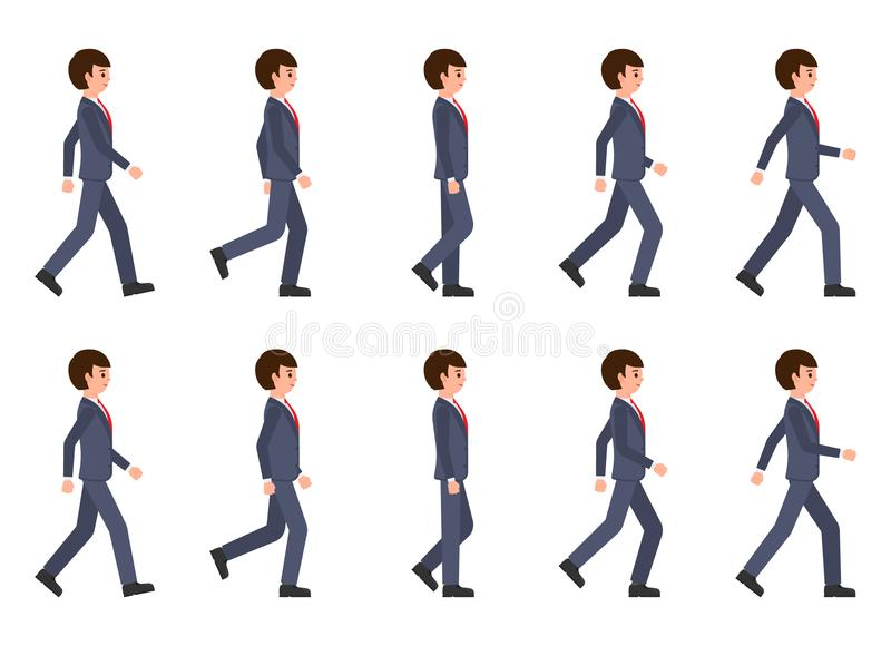 Young man in dark blue suit walking sequence. Vector illustration of moving cartoon character person. Young man in dark blue suit walking sequence. Vector stock illustration