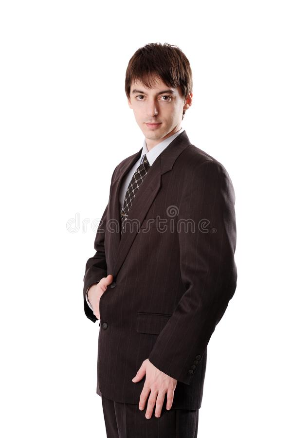 Young man in dark suit royalty free stock images