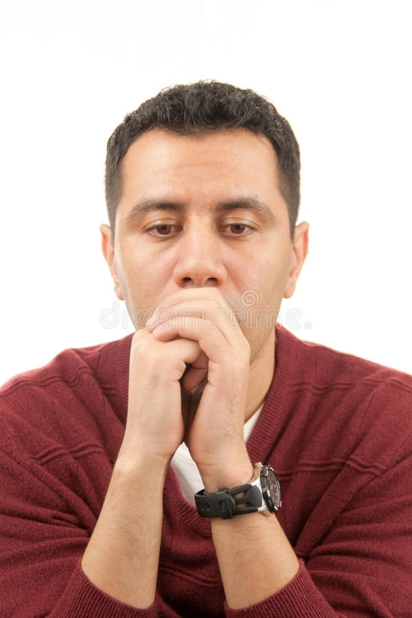 Young man in deep thinking stock photos