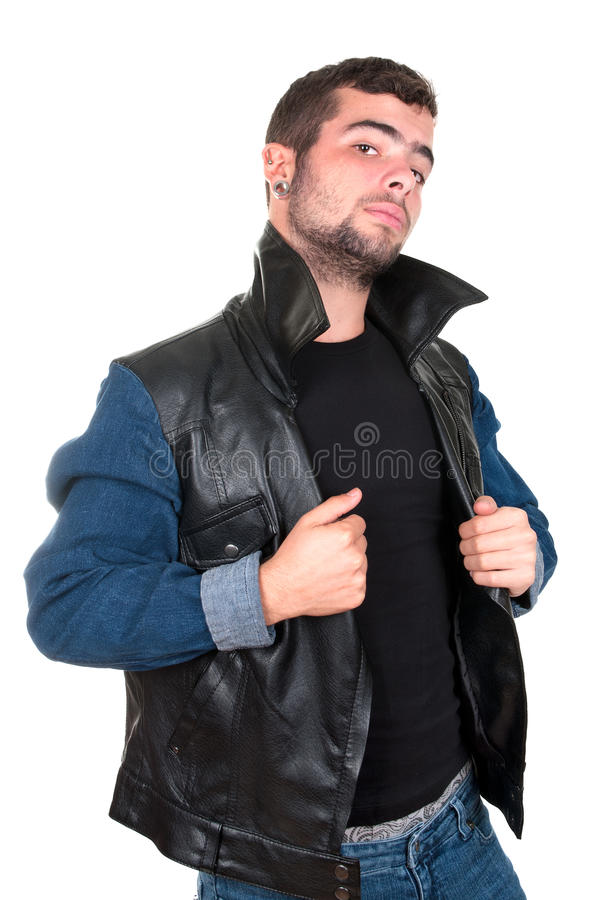 Young man in a defying attitude stock photos
