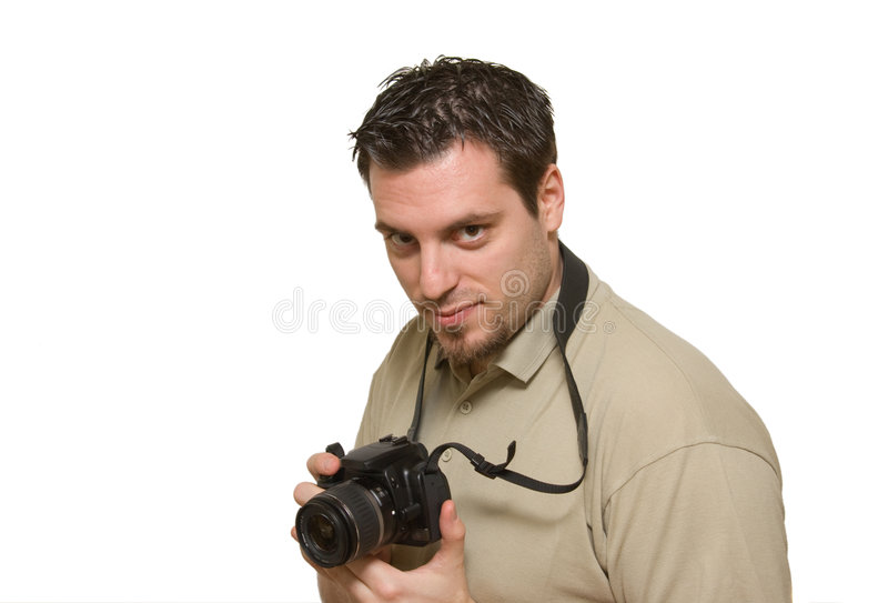 Young man with digital camera royalty free stock photos