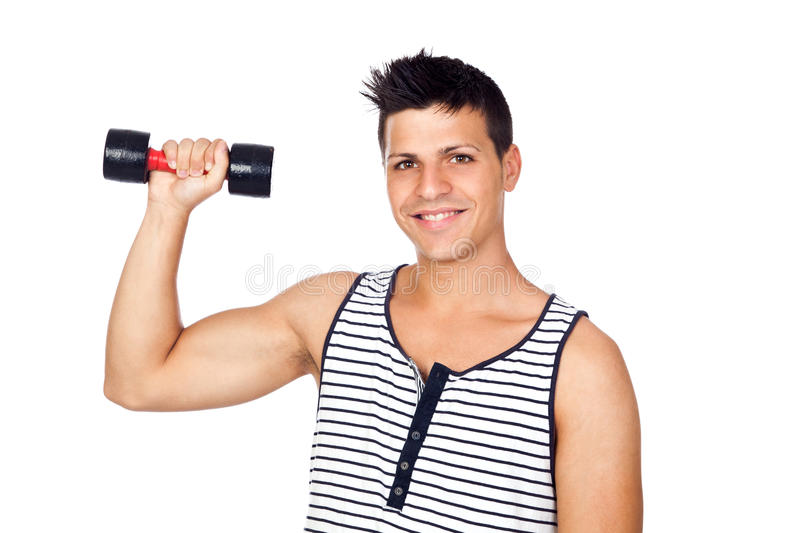 Young Man Doing Exercise With Weights Royalty Free Stock Photo