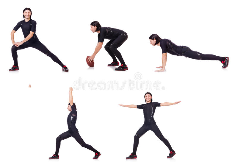 The young man doing exercises on white. Young man doing exercises on white stock photography