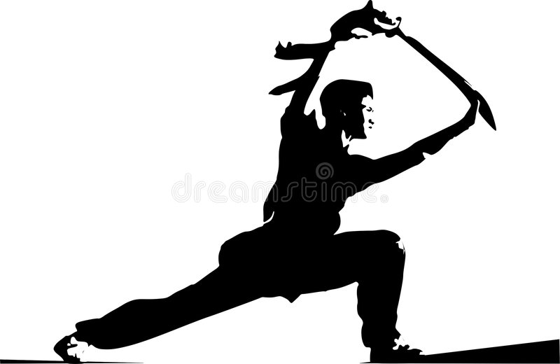 Young man doing karate with a weapon. vector illustration