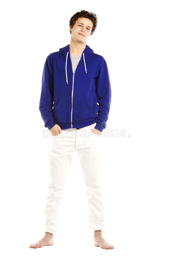 Young man dressed in hoodie looking cool stock photography