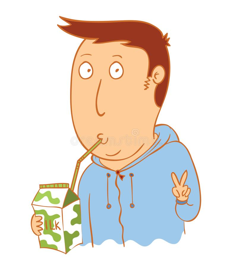 Young man drink milk. Available in vector eps 10 file vector illustration