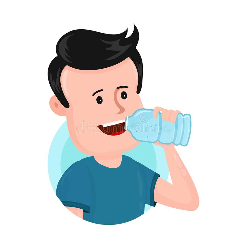 Young man drink water from plastic bottle. Vector flat modern style illustration character icon design. Isolated on white background stock illustration