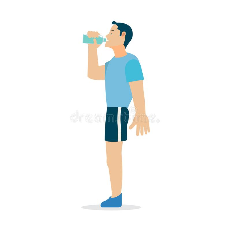 Young man drinking water for good healthy.Flat healthy man drink water. Cartoon stock illustration
