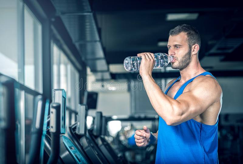 Young man drinking water in gym royalty free stock images