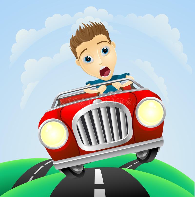 Young man driving fast classic car royalty free illustration