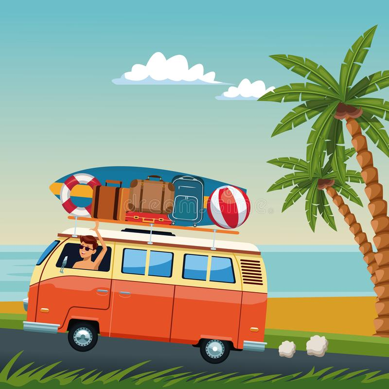 Young man driving surf van to the beach stock illustration