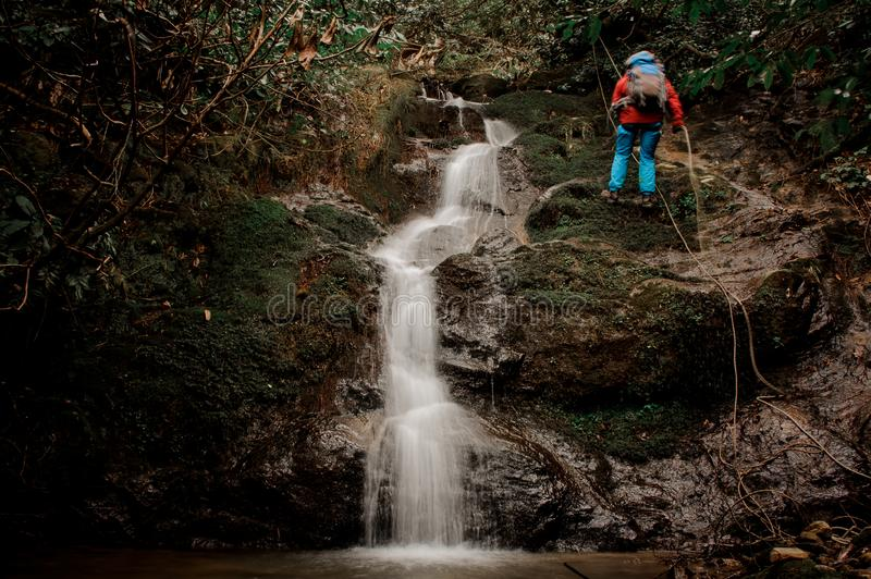 Young man dulfers down the mountain with waterfall in Adjara. Young man in a red jacket with backpack dulfers down the mountains with trees and small beautiful royalty free stock photography