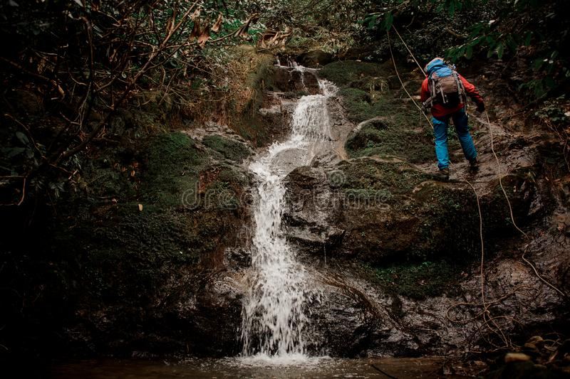 Young man dulfers down the mountain with waterfall in Adjara. Young man in a red jacket with backpack dulfers down the mountains with trees and small beautiful royalty free stock photos