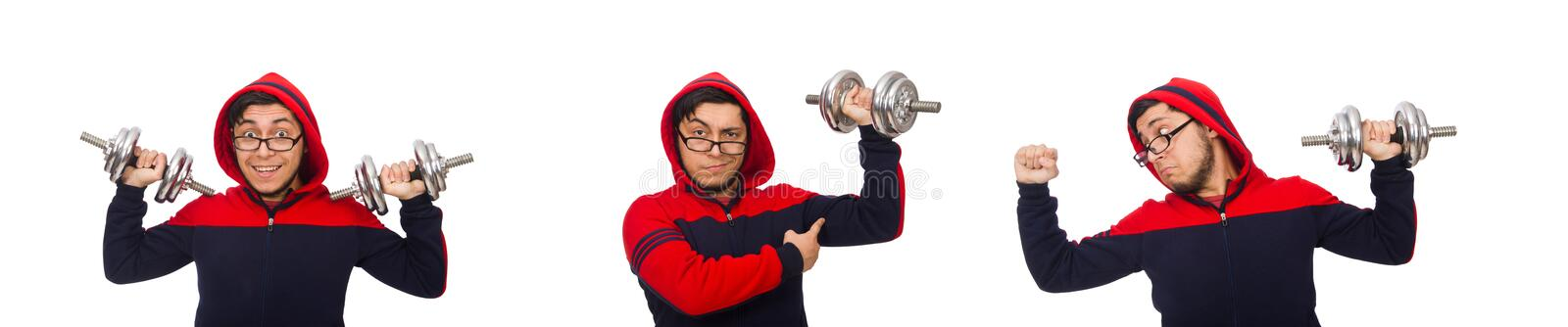 Young man with dumbbells isolated on white stock images