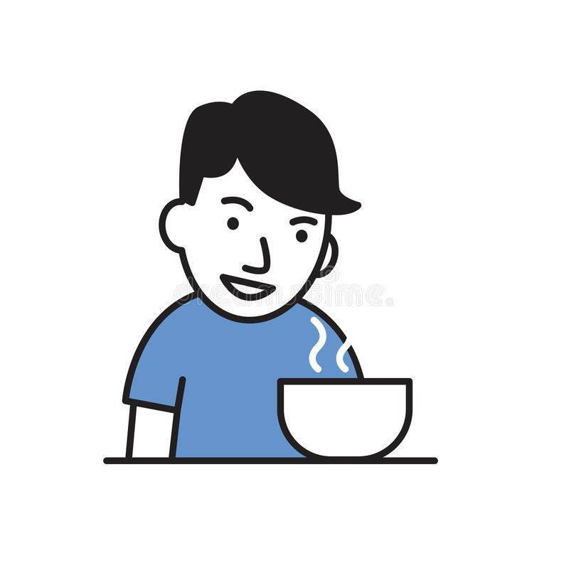 Young man eating meal. Flat design icon. Colorful flat vector illustration. Isolated on white background. Young man eating meal. Cartoon flat design icon stock illustration