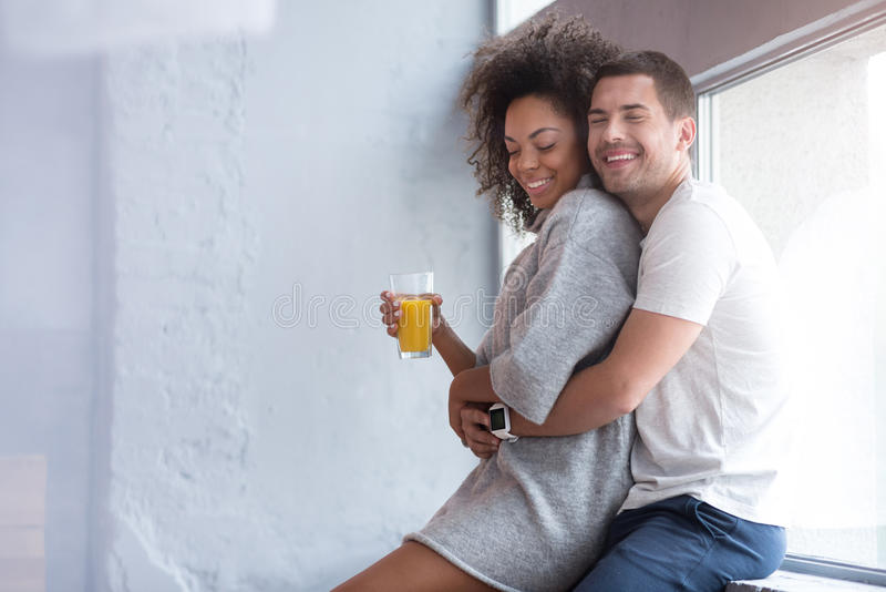 Happy Man Embracing His Wife From Behind Stock Image - Image Of Adorable, Happiness -9795
