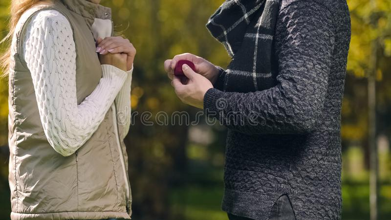 Young man with engagement ring making proposal to his beloved girlfriend, love royalty free stock images