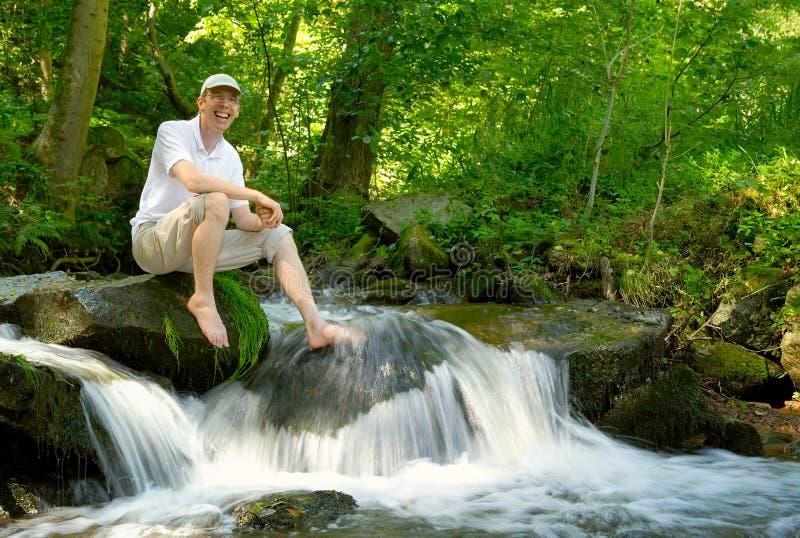 Young man enjoying nature stock photos