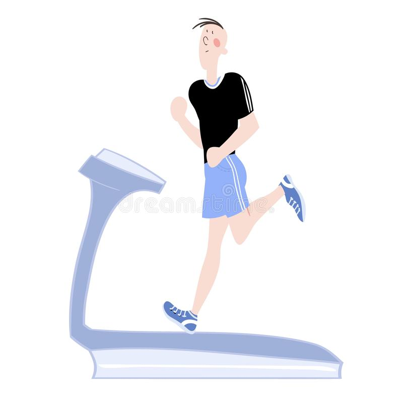Sport exercises. A young man, exercising in the gym, cardiovascular exercise, running on a treadmill, color illustration in , for advertising of the sports stock illustration