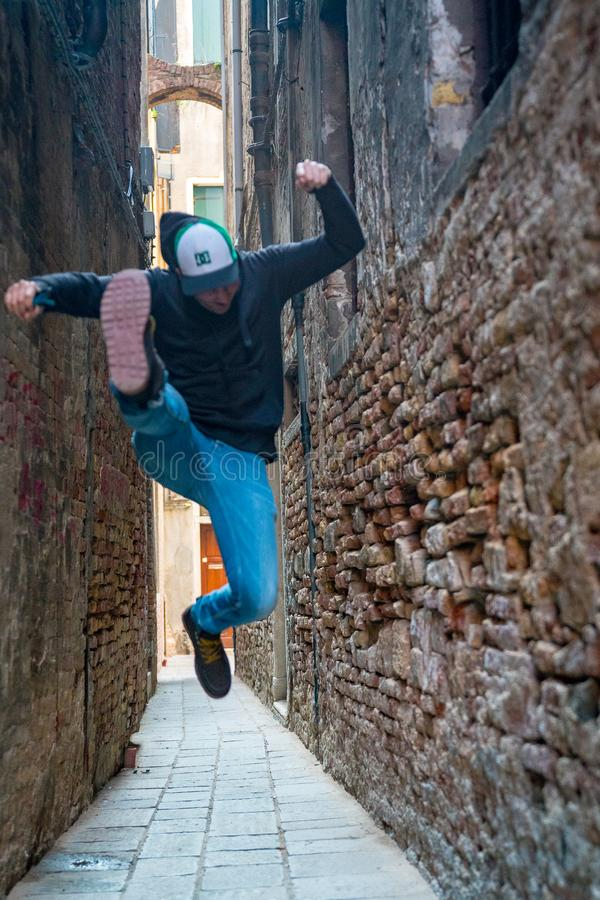 Young man exploring and enjoying in Venice royalty free stock photos