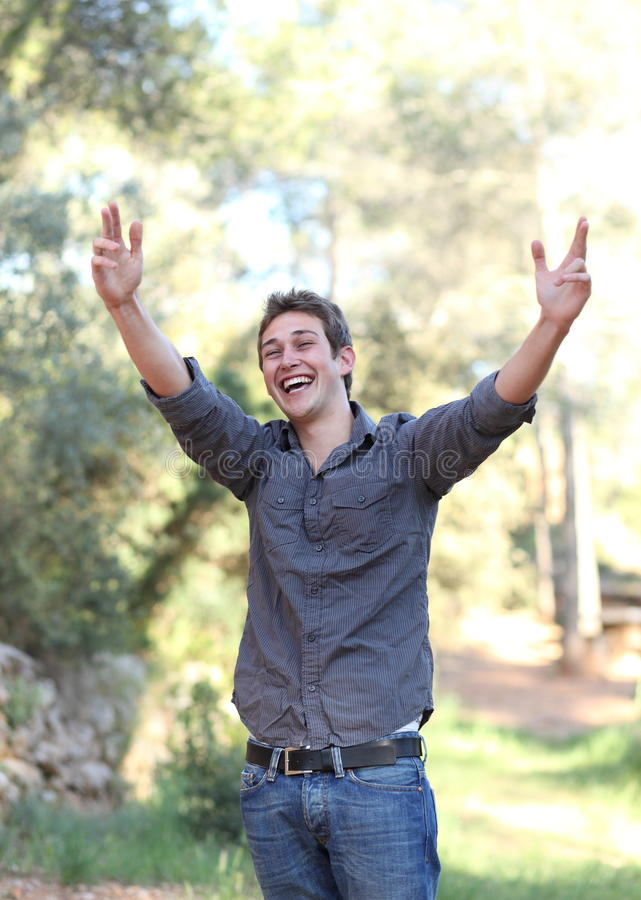 Young Man Expressing His Joy Royalty Free Stock Image