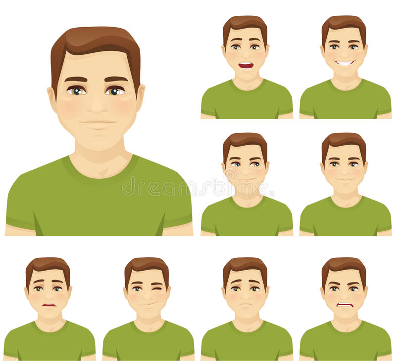 Young man expression set. Attractive young man with different facial expressions set