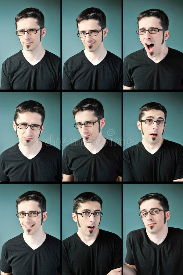 Young man expressions stock photos