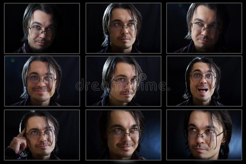 Young man face expressions composite stock photos