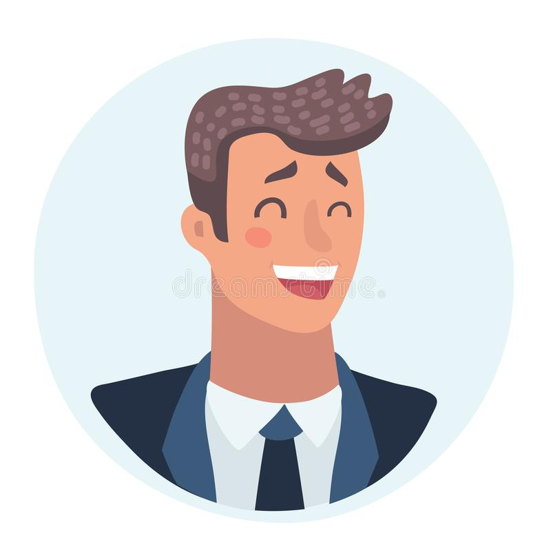 Young man face, laughing facial expression, cartoon vector illustrations royalty free illustration