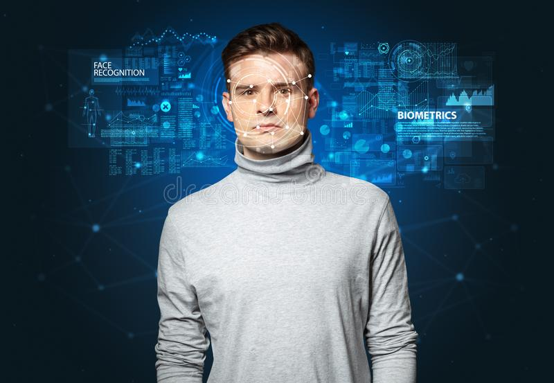 Young man face recognition concept stock photo