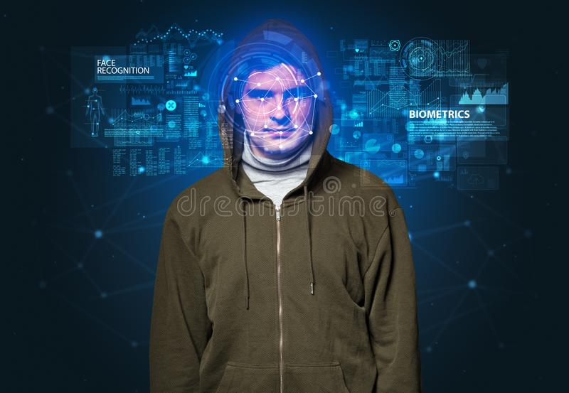 Young man face recognition concept stock photography
