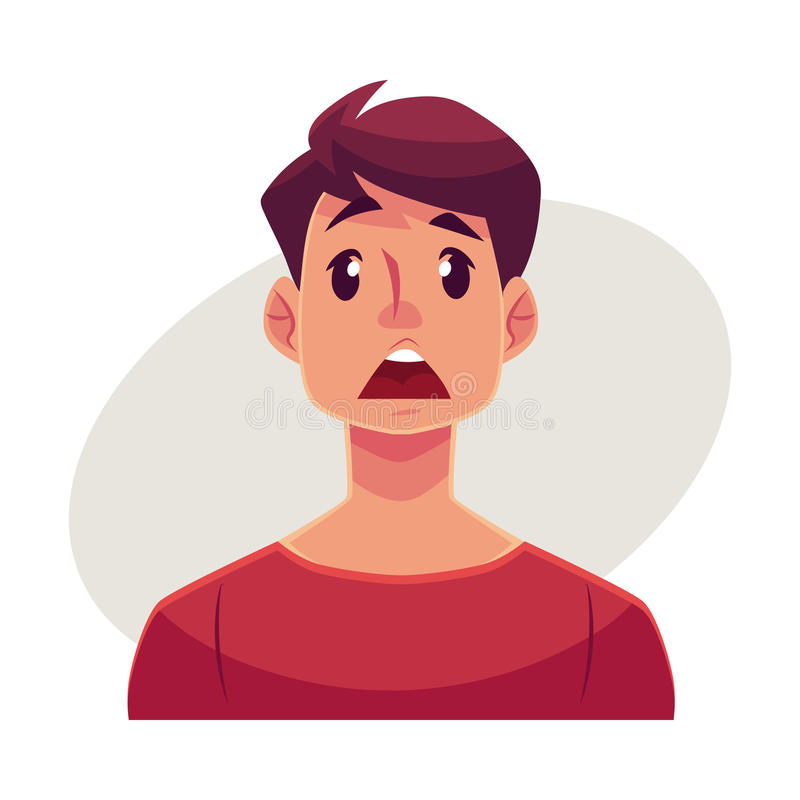 Young man face, surprised facial expression vector illustration