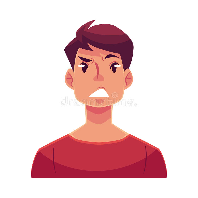 Young man face, upset, confused facial expression vector illustration