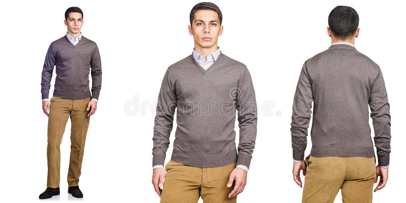 The young man in fashion concept isolated on white royalty free stock image