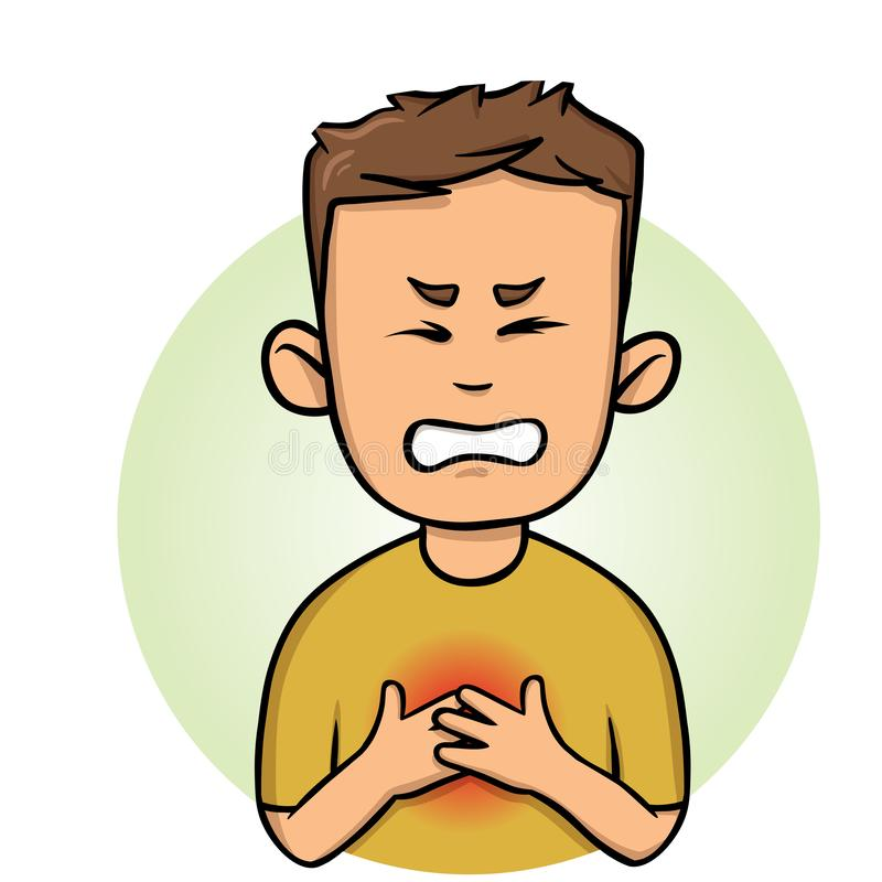 Young man feeling chest pain. Angina and heart attack. Flat vector illustration. Isolated on white background. royalty free illustration