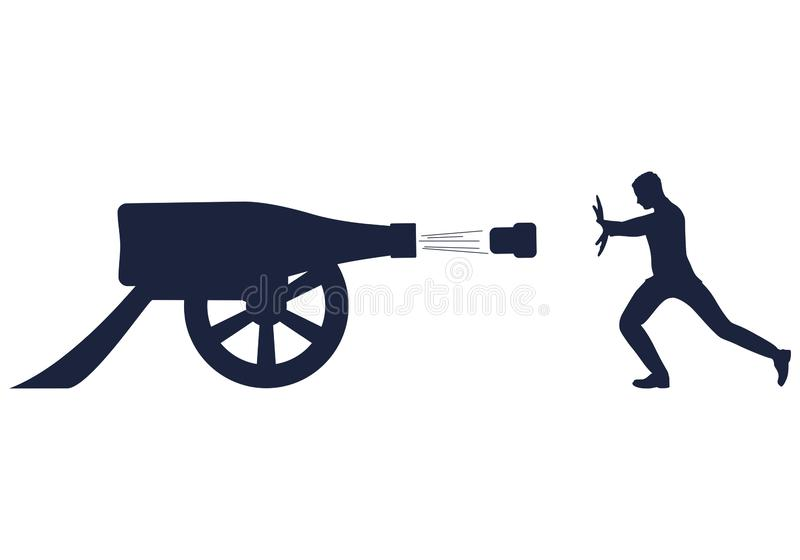 Alcoholism problem concept. Young man fight agaisnt alcoholism. Wine bottle cannon shoot. Social problem concept vector illustration
