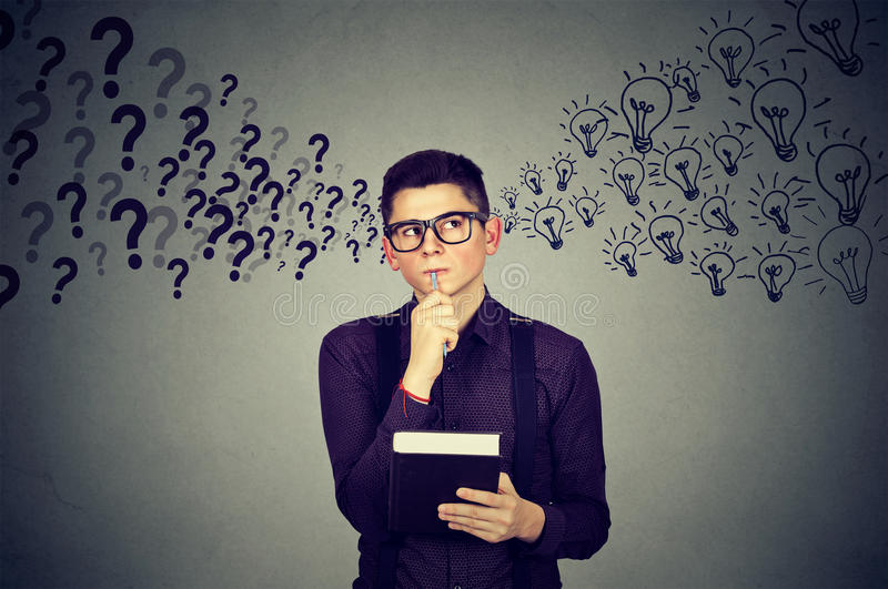 Young man finding answers to many questions generating ideas. Man finding answers to many questions generating ideas royalty free stock photography