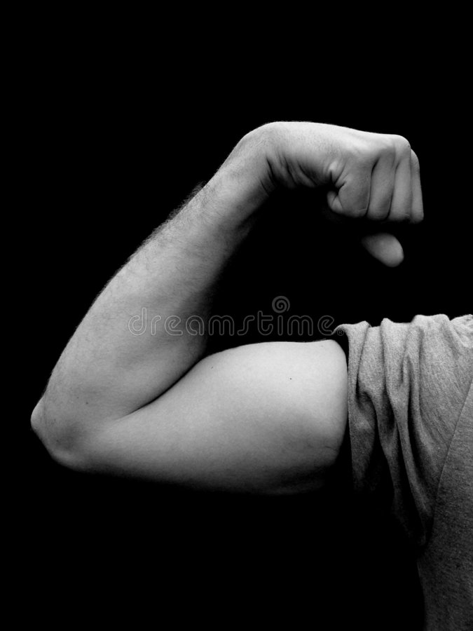 Download Young Man Flexing Muscle In Black And White Stock Image - Image: 195735