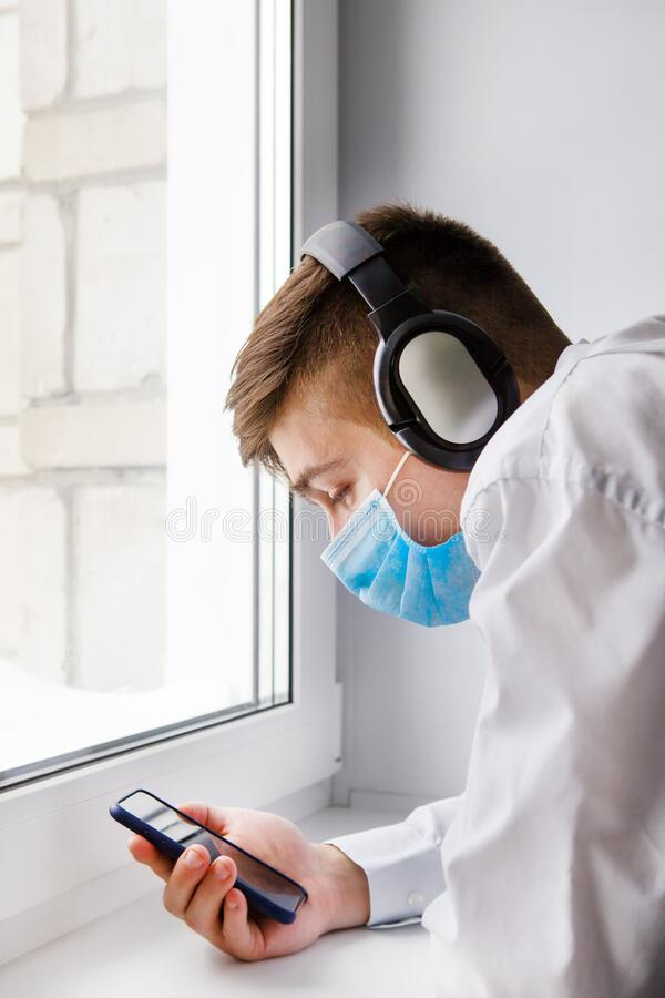 Young Man in Flu Mask royalty free stock photos