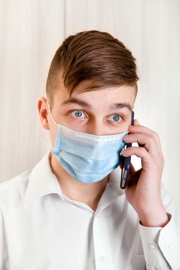 Young Man in Flu Mask royalty free stock photo