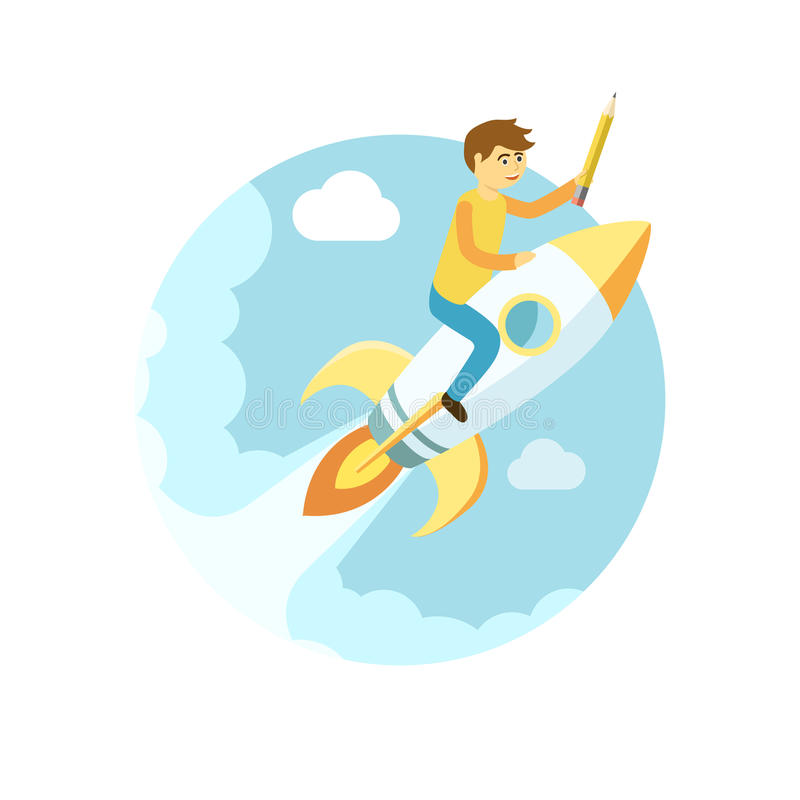 Young man flying on the rocket in the sky. Flat style vector sta vector illustration