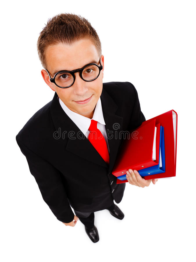 Young man with folders. Top view of a young business man, student or teacher with folders in hand, wearing glasses stock photos