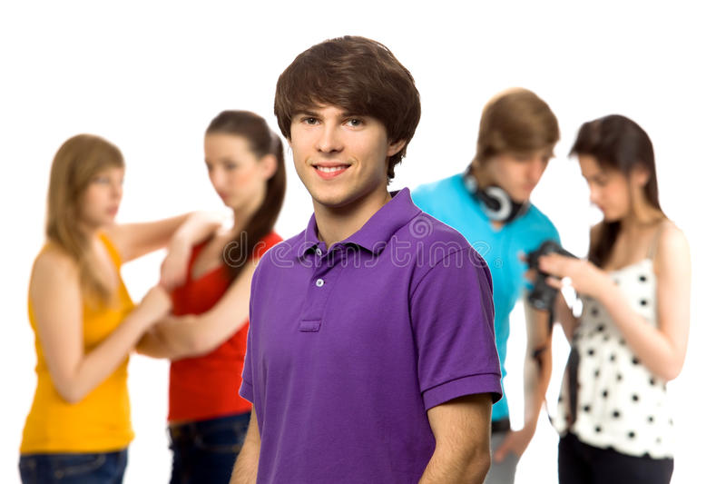 Download Young man with friends stock photo. Image of teenage - 14295298