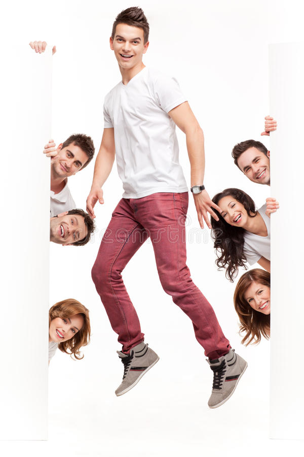 Download Young Man With Friends Advertising Stock Images - Image: 19986824