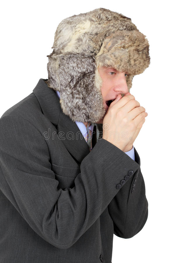 Download Young Man In Fur Cap Freezes Stock Image - Image: 12832029